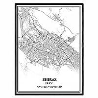 シーラーズイラン地図ウォールアートキャンバス印刷ポスター アートワークフレームなし地図お土産贈り物室内装飾