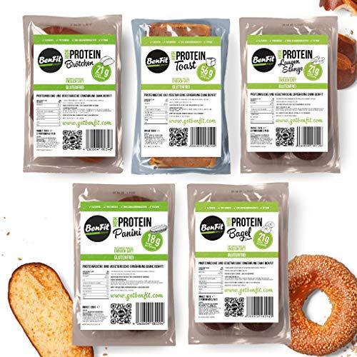 BenFit High Protein Test-Paket (1 Toast, 2 Brötchen, 2 Laugenstangen, 2 Bagel Sesam, 2 Bagel Mohn)