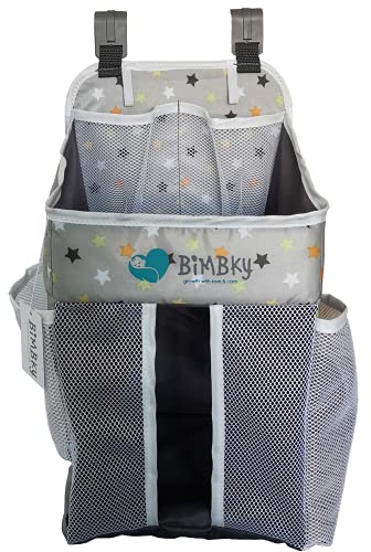 BiMBKy Hanging Diaper Caddy Organizer, Grey, Stacker For Crib, Nursery Storage For Changing Table, Practical And Ideal For Newborn Boy And Girl – 17'' x 10'' x 10''