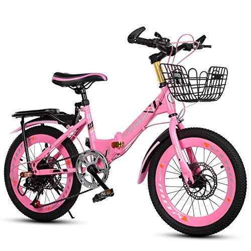 Grimk Mädchenfahrrad 18 Zoll Kinderfahrrad Mädchen-Fahrrad Sport Bike Kinder Jungen Mädchen Citybike Klappfahrrad 6 Gang-schaltung Aluminium,Pink,18inches