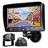 Xroose Backup Camera with Monitor Kit, 7' Recorder Monitor + 1080P FHD Wired Rear Side View Cam + for RV Trailer Truck Motorhome Camper, Waterproof IR Rearview Automotive Back Up System Y2