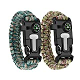 WUQID Paracord Survival Bracelet Loud Whistle Emergency Compass Survival Fire Starter Knife Accessories for Hiking, Camping, Fishing and Hunting (2 Pack)(Army Green + Jungle Camo)
