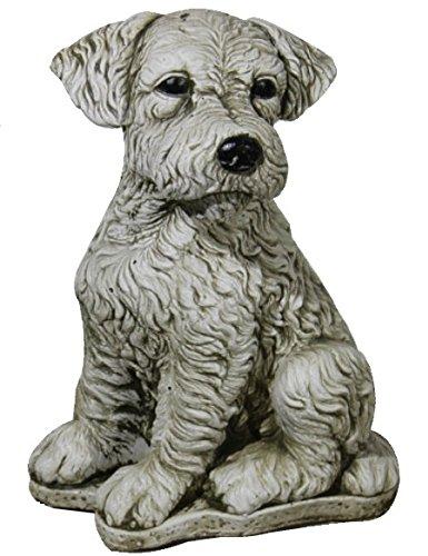 AnaParra Figura Decorativa Perro Foxterrier de hormigón-Piedra para jardín o Exterior 32cm.