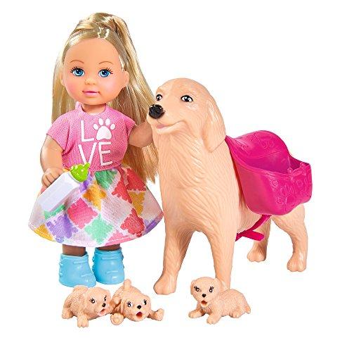Simba 105733072 - Evi Love Dog Sitter / mit Hündin und drei Welpen / Zubehör / Ankleidepuppe / 12cm, für Kinder ab 3 Jahren