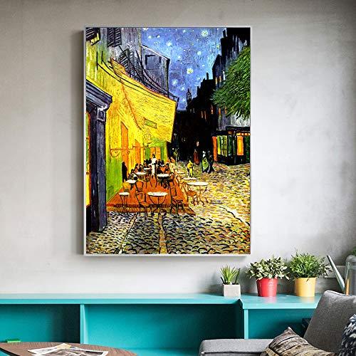 Personalidad Cartel Retro Pintura al óleo café terraza análisis Nocturno Lienzo Pintura reproducción de fama Mundial Sala de Estar Mural sin Marco -50 * 70