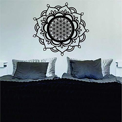 jiushivr Mandala Flor de la Vida Sagrada Geometría Decal Sticker Vinilo Arte de la Pared Decoración para el Hogar Habitación Zen Buda Lotus Diseño Interior del Hogar 57x59cm