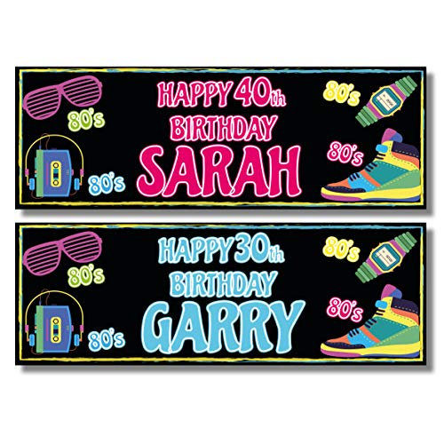 2 x Personalised 1980s Themed Party Banners. Add any name and text.