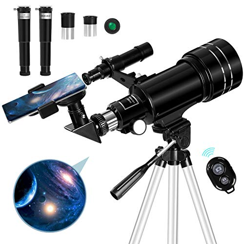 Occer Telescopes for Adults Kids - Portable Telescope for Beginners for View Moon - 70mm Aperture 300mm Lightweight Refracting Telescopes with Adjustable Tripod Moon Filter Wireless Remote