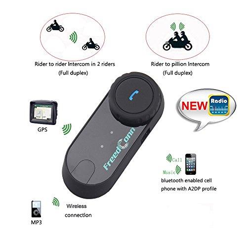 FreedConn Motorrad Intercom Bluetooth Headsets, T-COM VB Motorradhelm Interphone Gegensprechanlage Kommunikationssysteme 2-3 Rider Intercom Kit Mit 800M, GPS, FM Radio (1 Stück mit weichen Kopfhörer) - 5