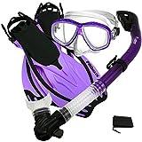 Promate Snorkeling Scuba Dive Dry Snorkel Purge Mask Fins Gear Set, Purple, ML/XL