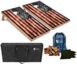 Tailgating Pros Rustic American Flag Cornhole Boards w/Bean Bags - 4'x2' Distressed Flag Cornhole Game w/Carrying Case & Corn Hole Bags