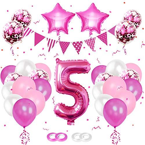 誕生日 飾り付け 誕生日 バルーン 数字風船 5歳 男の子 女の子 Happy Birthday 風船 バースデー ガーランド ハッピーバースデー バルーン ウェディング 記念日 パーティーに 誕生日かざりつけセット(5, ローズレッド)