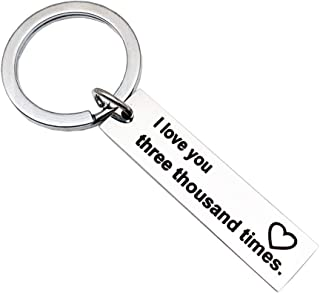 Keychain for Women Men, I Love You Three Thousand Times Couples Keychain Gift Cool Mini Girlfriend Boyfriend Key Ring Engraved Husband Wife Home Jewelry Present