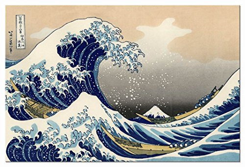 Wieco Art Great Wave of Kanagawa Katsushika Hokusai Giclee Canvas Prints Wall Art Abstract Seascape Pictures Paintings for Living Room Home Decorations Large Modern Stretched and Framed Sea Artwork