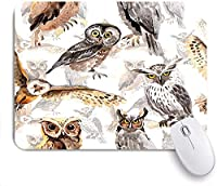 Mabby マウスマット ゲーミング オフィス マウス パッド,Sky bird owl pattern in a wildlife by watercolor style,Non-Slip Rubber Base Mousepad for Laptop Computer PC Office,Cute Design Desk Accessories