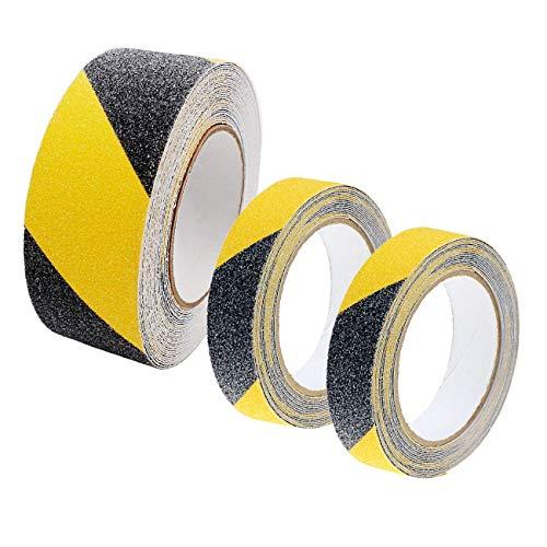 JZK 1 rolka 5 cm x 10 m i 2 bułki 2,5 cm x 5 m, antypoślizgowa taśma samoprzylepna żółta czarna ostrzegawcza taśma ostrzegawcza ostrzegawcza taśma antypoślizgowa taśma bezpieczeństwa do schodów/kroków