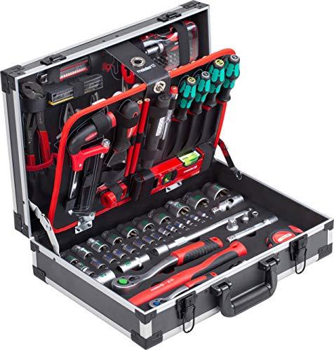 Meister Werkzeugkoffer 131-teilig - Mit Qualitätswerkzeug von Knipex & Wera - Stabiler Alu-Koffer / Profi Werkzeugkoffer befüllt / Werkzeugkiste / Werkzeugbox komplett mit Werkzeug / 8973750