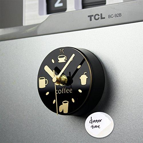 HDUEFVIKR Wandaufkleber Kaffee Trinken Tisch Freizeit kühlschrank Uhr kreative Magnet-absaugung kühlschrank-Magnete Zeit Uhr-A 9x9cm(4x4inch)