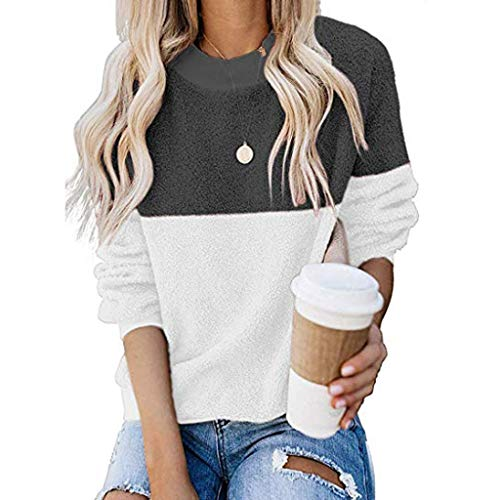 Bravetoshop Womens Crewneck Fleece Sweaters Long Sleeve Color Block Loose Knitted Pullover Jumper Tops(Black,L)