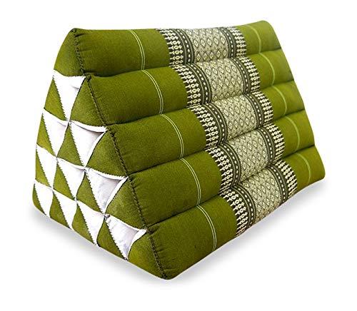 livasia Großes Dreieckskissen als Rückenstützkissen, Thaikissen BZW. Keilkissen, Nackenkissen fürs Bett (grün)