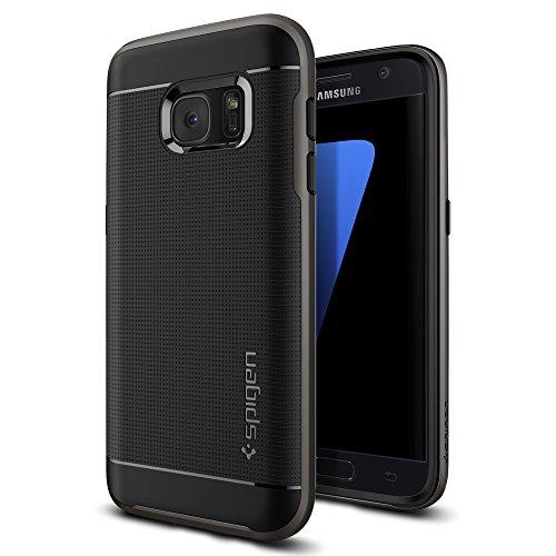 Samsung Galaxy S7 Hülle, Spigen® [Neo Hybrid] Doppelschichter Schutz [Gunmetal] 2-teilige Premium Handyhülle Schwarz Silikon TPU Schale + PC Farbenrahmen Dual Layer Schutzhülle für Samsung Galaxy S7 Case Cover - Gunmetal (555CS20141)