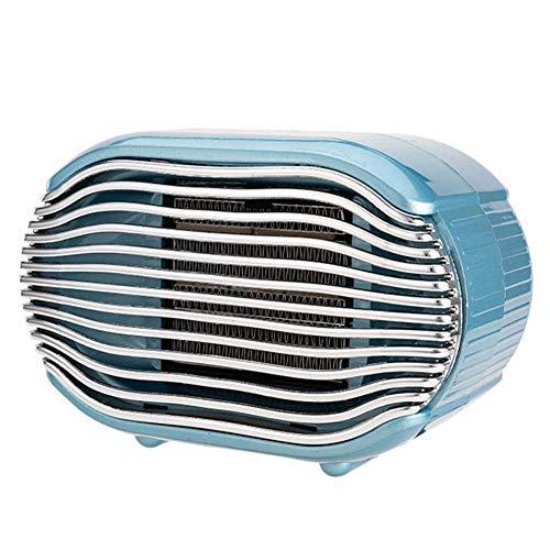 Calefactor Eléctrico, Calefactor de Aire Caliente Cerámico Calentador de Espacio Portátil, Termostato Regulable, Protección sobrecalentamiento, Sensor Antivuelco, 500 W,Azul
