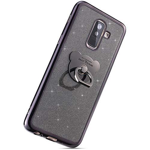 Herbests Kompatibel mit Samsung Galaxy J8 2018 Handyhülle, Silikon Handyhülle Überzug Glitzer Kristall TPU Bumper Case Transparent Weiche Silikon Handytasche mit Ring Ständer Halter,Schwarz