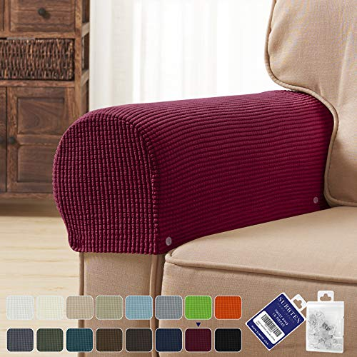 subrtex Spandex Stretch Fabric Armrest Covers Anti-Slip Furniture Protector Armchair Slipcovers for Recliner Sofa Set of 2 with Free Fixing Tools Twist Pins (Wine), Two Pieces, 2pcs