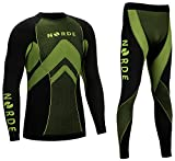 (Black/Green, M) - THERMOTECH NORDE Functional Thermal Underwear Breathable Active Base Layer SET