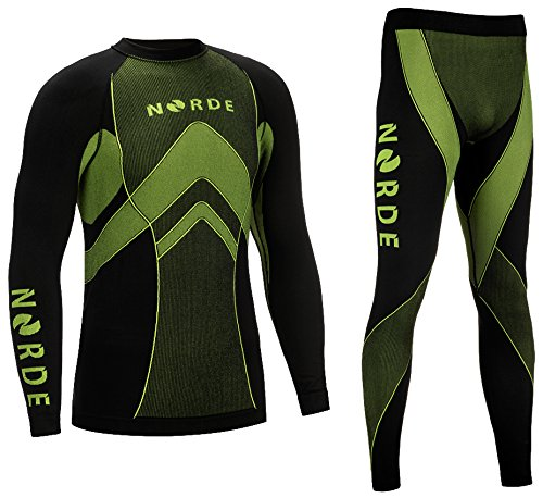 Norde THERMOTECH Herren Funktionswäsche Thermoaktiv Atmungsaktiv Base Layer Set Outdoor Radsport Running (Schwarz/Lime, XXL)