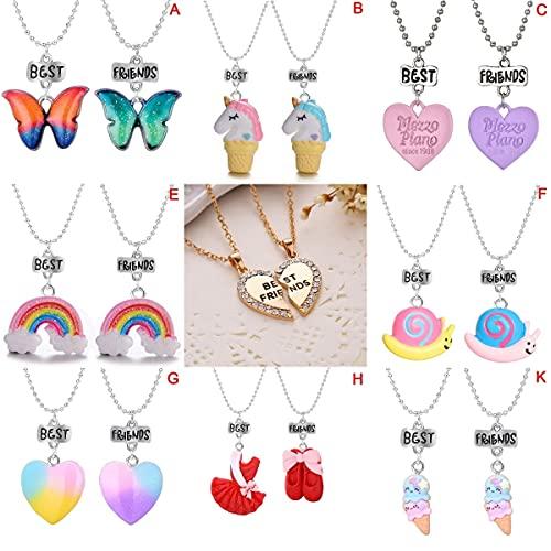 JIUXIAO Unisex 2 uds BFF Collar Mujer Cristal corazón Colgante Mejor Amigo Carta Collar Amistad joyería Moda Pareja Collar Gils