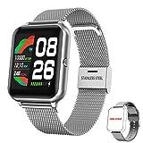Smartwatch Damen Herren, HopoFit Fitness Tracker 1.4 Zoll Touchscreen Smart Watch mit Schrittzähler Pulsuhr Schlafmonitor Stoppuhr Wasserdicht Fitness Armband Uhr für Android iOS (Silber)