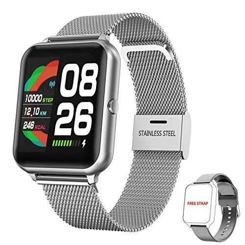 Orologio Smartwatch Donna Uomo, HopoFit Smart Watch con Cardiofrequenzimetro da Polso Contapassi Cronometro 1,4 Pollici Impermeabile Orologio Fitness Sportivo per Android iOS Smartphone (Argento)