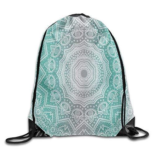 Etryrt Mochilas/Bolsas de Gimnasia,Bolsas de Cuerdas, Grey and Turquoise Primitive Spiritual Essence and Universe Harmony Mandala Ombre Art Bags Rowing Backpack