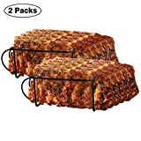 Urban Deco Rib Rack Grill Racks Pork Rib Rack Non Stick Rib Rack BBQ for 2 Set Porcelain Coated...