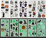 GWHOLE Halloween Pegatinas para Niños Tatuajes Temporales Halloween Infantiles -100 Piezas Pegatinas Brillan en la Oscuridad, Accesorios de Disfraces Halloween Decoraciones