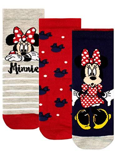 Disney Calcetines Paquete de 3 para Niñas Minnie Mouse Multicolor 32/36