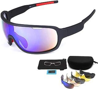En Exteriores Jinete Media Frame polarizadas Gafas Deportivas/Gafas de Sol, Go Wind y Arena Gafas de Haz/Compacto, Ligero,Gafas polarizadas para Ciclismo Deportivo (Negro)
