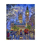 Pintar por Numeros Adultos Niños Londres Big Ben DIY Pintura al óleo Kit Lienzo de Bricolaje Decoración para Hogar Regalo 40x50cm Sin Marco