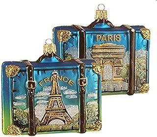 France Paris Travel Souvenir Suitcase with Pictures of Eiffel Tower Arch de Triumph Polish Glass Christmas Ornament
