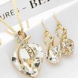 Womeet Collar Lágrimas de angel colgante de gota 2020 Conjuntos de joyería de moda para mujer Collar de cristal Pendientes anillo Boda Moda Colgante de gota de agua con Cristal Elegante y encantador