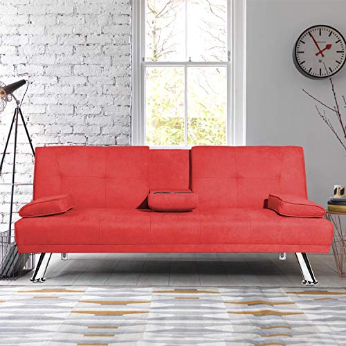 MIERES Modern Folding Futon Sofa Living Room w/Metal Legs and 2 Cup Holders Quickly Converts into a Bed, Sleeper Daybed, for Small Spaces, Red