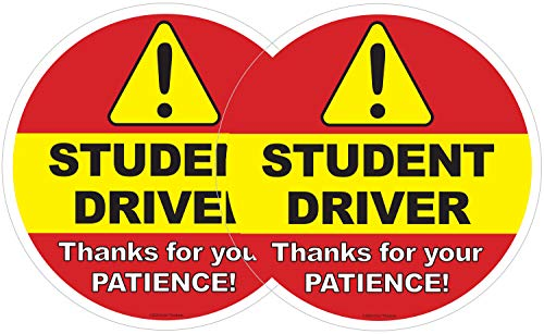 2 Pack: Student Driver Car Window Decal | Be Patient Beginner New Driver Driving Ed Removable Sticker | Caution Beware Learners Permit Rookie SUV Sign (2)