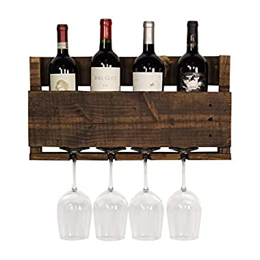del Hutson Designs  - The Little Elm Wine Rack, USA Handmade Reclaimed Wood, Wall Mounted, 4 Bottle 4 Long Stem Glass Holder (Ebony)