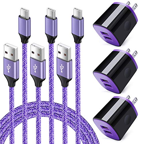 USB C Charger Cable 3 Pack 6FT with Wall Charger Cube Brick 3 Pack Compatible for Samsung Galaxy A01 A21 A11 A20E A10E A50, Moto One Action Hyper Zoom Vision Macro Z4 Z3 Z2 Z Force Play