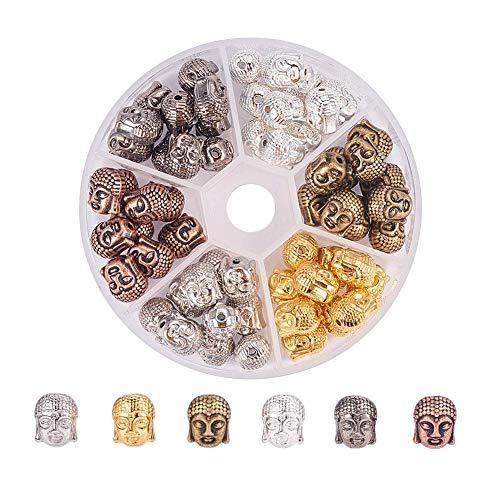 PandaHall 1 Set Perline in Stile Tibetano Charms Senza Piombo Testa di Buddha alla Ricerca di Perle per Creazione di Gioielli 11x9x8mm