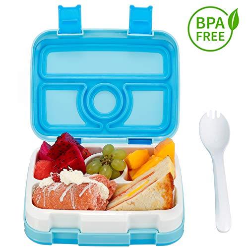 Lonchera para niños Bento Box 4 Compartimentos Lonchera BPA-Libre, Contenedor de Almacenamiento de Alimentos para niños con Cuchara Cuchillo a Prueba de Fugas Preparación para Comidas Escolares