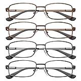 EFE Gafas de Lectura Hombres Mujeres 4-Pack Diseño de Bisagra de Resorte con Montura de Gafas de Metal Ligeros Cómodos 2.5