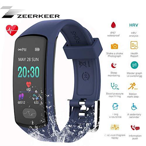 Zeerkeer Orologio da Polso, Seguito da Fitness 0.96 PPG Elettrocardiogramma, Contapassi, Calorie Consumo SMS, Facebook Twitter Donna (Blu)