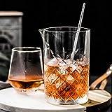 Homestia Cocktail-Set mit Cocktailgläsern, 4 Stück: 24,5 Unzen dickes Rührglas, Hawthorne Cocktailsieb, Doppel-Messbecher, Barlöffel, Silber M Silver - 5